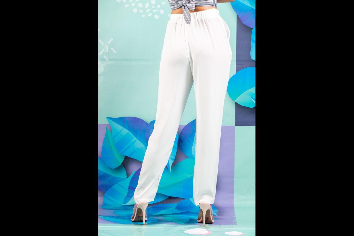 Nidux Pantalon De Vestir Blanco Con Lazo En Cintura